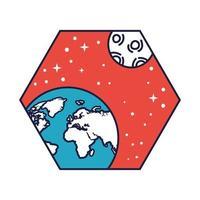 emblema do espaço com planeta Terra e linha da lua e estilo de preenchimento