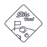 emblema do espaço com estilo de lua e linha de bandeira