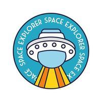 emblema circular espacial com linha voadora OVNI e estilo de preenchimento