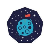 emblema do espaço com planeta de Marte com linha de bandeira e estilo de preenchimento