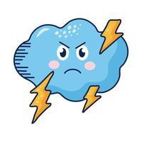nuvem kawaii com personagem de banda desenhada de parafusos