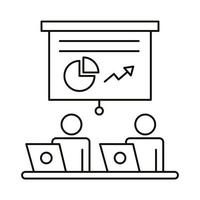 casal de avatar trabalhando em laptops e estilo de linha de estatísticas