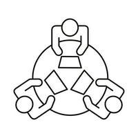 três trabalhadores na mesa redonda ícone de estilo de linha de coworking