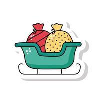 Ícone de adesivo de trenó de feliz natal com sacola de presentes