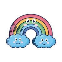 nuvens kawaii e personagem de quadrinhos arco-íris