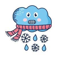 nuvem kawaii usando lenço com personagem de quadrinhos flocos de neve