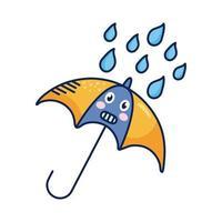 guarda-chuva kawaii com personagem cômico de gotas de chuva