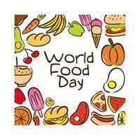 letras de celebração do dia mundial da comida com estilo plano padrão de comida vetor