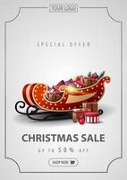 oferta especial, promoção de natal, até 50 de desconto, banner vertical prata com moldura vintage de linhas e trenó de Papai Noel com presentes vetor