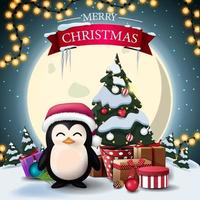 Feliz Natal, postal quadrado com paisagem de inverno, grande lua amarela, pinguim com chapéu de Papai Noel e árvore de Natal em uma panela com presentes