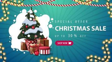 oferta especial, liquidação de natal, desconto de até 30, banner azul de desconto com nuvem branca abstrata, guirlandas, botão e árvore de natal em um pote com presentes vetor