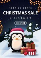 oferta especial, liquidação de natal, desconto de até 50, lindo banner de desconto com paisagem de inverno dos desenhos animados noturnos no fundo e pinguim com chapéu de Papai Noel com presentes