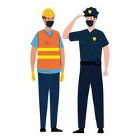 construção de trabalhadores com policial usando máscara facial durante o covid 19 em fundo branco vetor