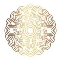 ornamento elegante, mandala redonda na cor dourada vetor