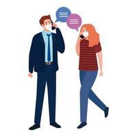 mulher e homem com máscaras médicas segurando smartphone e desenho vetorial de bolhas