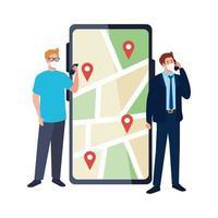 homens com máscaras segurando marcas de smartphone e GPS no desenho vetorial de mapa