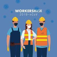 Construtores femininos e masculinos com uniformes e máscaras de desenho vetorial vetor
