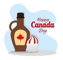 xarope de bordo canadense e cupcake do feliz dia do Canadá desenho vetorial vetor