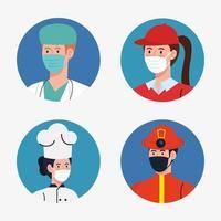 pessoas, trabalhadores com uniformes e máscaras de trabalho, desenho vetorial vetor
