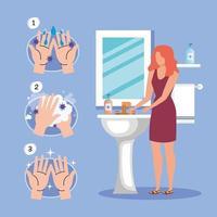 técnica de lavagem de mãos e design de vetor de avatar de mulher