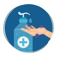 frasco de desinfetante para mãos e desenho vetorial de mão vetor