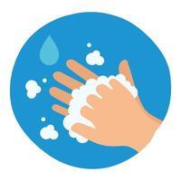 lavagem das mãos com sabão e gotas de água desenho vetorial vetor
