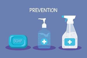 frascos de desinfetante para as mãos e desenho vetorial de sabonete vetor