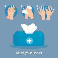 desenho vetorial de etapas de lavagem de mãos e caixa de lenços vetor