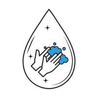 lavagem das mãos com sabão dentro de desenho vetorial de gota vetor