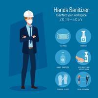 engenheiro com máscara e dicas de prevenção de desinfetante de mãos desenho vetorial vetor