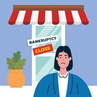 mulher triste na loja de desenho vetorial de falência vetor