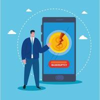 empresário com smartphone de desenho vetorial de falência vetor