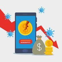 moeda quebrada no smartphone e seta de diminuição do desenho vetorial de falência vetor