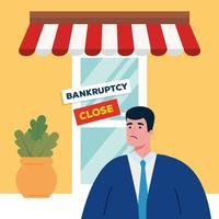 empresário triste na loja de desenho vetorial de falência vetor
