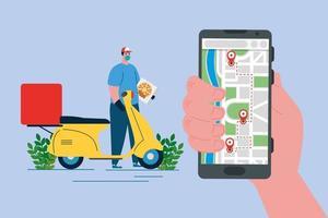 entregador com caixa de pizza de motocicleta máscara e desenho vetorial de smartphone vetor