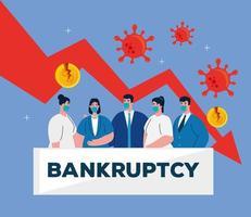 empresários com máscaras e seta de diminuição do desenho vetorial de falência