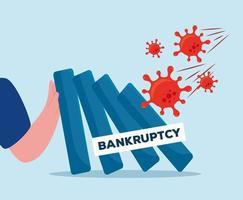 braço com banner de desenho vetorial de falência vetor