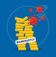 moedas torres de desenho vetorial de falência vetor