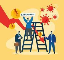 empresários com máscaras e escada de falência desenho vetorial vetor