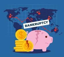 Porquinho e moedas quebradas de desenho vetorial de falência vetor