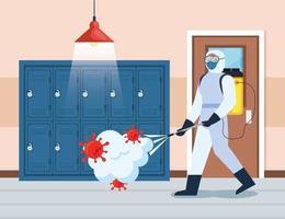 homem com roupa protetora borrifando o corredor da escola com um covid 19 desenho vetorial vetor