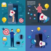 smartphones e avatares masculinos com conjunto de ícones de design de vetor de marketing digital