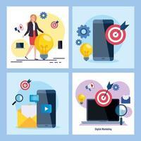 mulher smartphones e laptop com conjunto de ícones de design de vetor de marketing digital