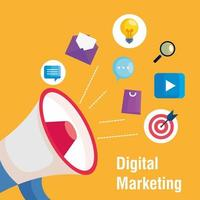 megafone com conjunto de ícones de design de vetor de marketing digital