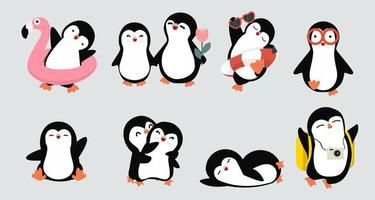 coleção de poses de pequenos pinguins desenhados a mão fofa vetor