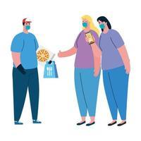 entrega de clientes masculinos e femininos com máscara e desenho vetorial de caixa de pizza vetor