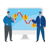 empresários com máscaras e flecha de diminuição do desenho vetorial de falência vetor