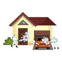 homens com roupa de proteção pulverizando casa com design de vetor de vírus covid 19