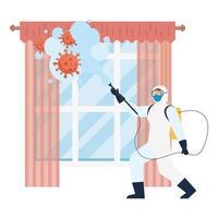 homem com roupa de proteção, pulverizando janela com design de vetor de vírus covid 19