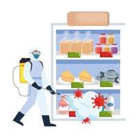 homem com roupa de proteção pulverizando geladeira com design de vetor de vírus covid 19